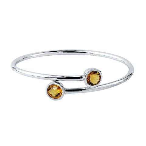Auriya 3ct Yellow Citrine Bypass Bangle Bracelet Gold over Silver