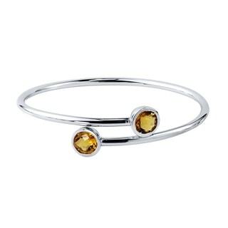 Auriya Gold over Silver 3ct. Round Citrine Stackable Bypass Bangle Bracelet