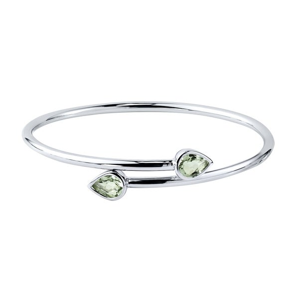 Stackable 2ct Pear Shaped Green Amethyst Bypass Bangle Bracelet by Auriya in Gold over Silver
