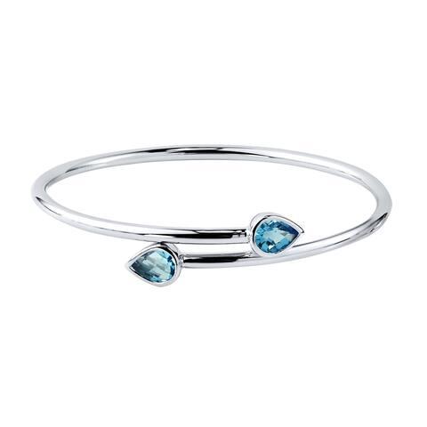 Auriya 2 1/2ct Pear-cut Swiss Blue Topaz Bypass Bangle Bracelet Gold over Silver