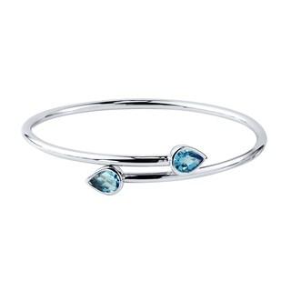 Auriya Gold over Silver 2 1/2ct Pear-cut Swiss Blue Topaz Stackable Bypass Bangle Bracelet