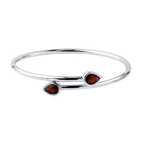 Auriya 2 1/2ct Pear-cut Red Garnet Bypass Bangle Bracelet Gold over Silver