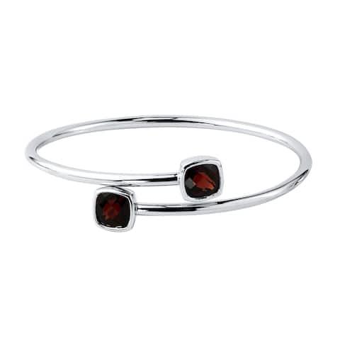 Auriya 5 1/2ct Cushion-cut Red Garnet Bypass Bangle Bracelet Gold over Silver
