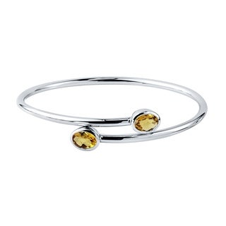 Auriya Gold over Silver 2ct Oval-cut Citrine Stackable Bypass Bangle Bracelet