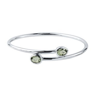 Auriya Gold over Silver 2 1/2ct Oval-cut Green Amethyst Stackable Bypass Bangle Bracelet