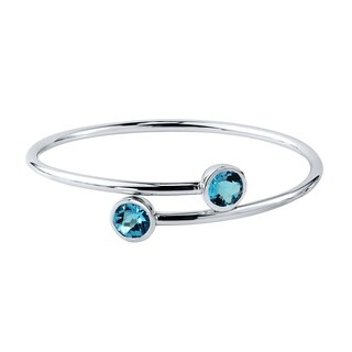 Stackable 4ct Round Swiss-Blue Topaz Bypass Bangle Bracelet by Auriya in Gold over Silver