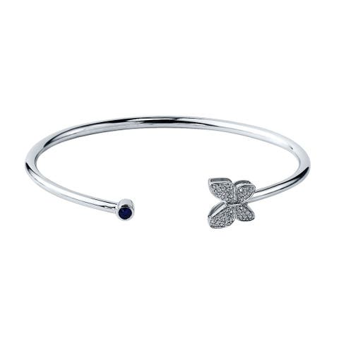 Auriya 1/8ct Blue Sapphire Butterfly Bangle Bracelet with Diamond Accents Gold over Silver