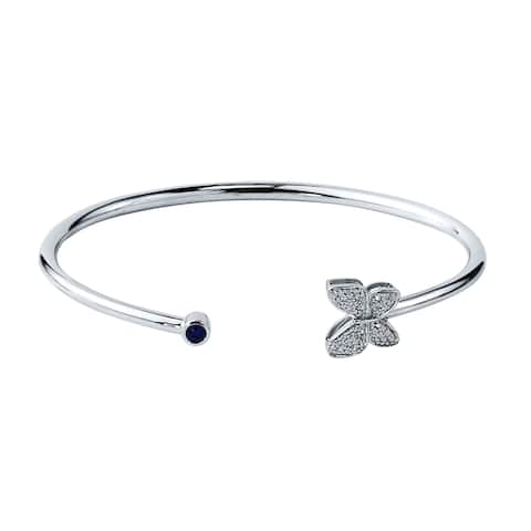 Auriya Gold over Silver 1/8ct Stackable Blue Sapphire and 1/10ct TDW Butterfly Diamond Open-Cuff Bangle Bracelet
