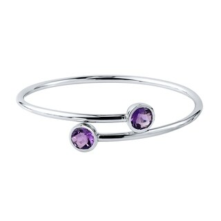 Auriya Gold over Silver 3ct Round Purple Amethyst Stackable Bypass Bangle Bracelet