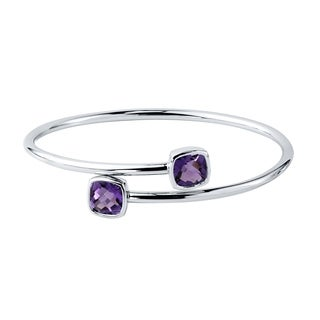 Stackable 4ct Cushion Purple Amethyst Bypass Bangle Bracelet by Auriya in Gold over Silver