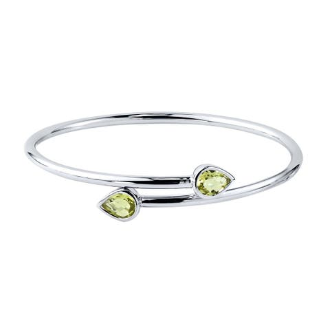 Auriya 1 3/4ct Pear-cut Lemon Green Quartz Bypass Bangle Bracelet Gold over Silver