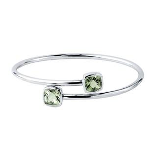 Auriya Gold over Silver 4ct Cushion-cut Green Amethyst Stackable Bypass Bangle Bracelet