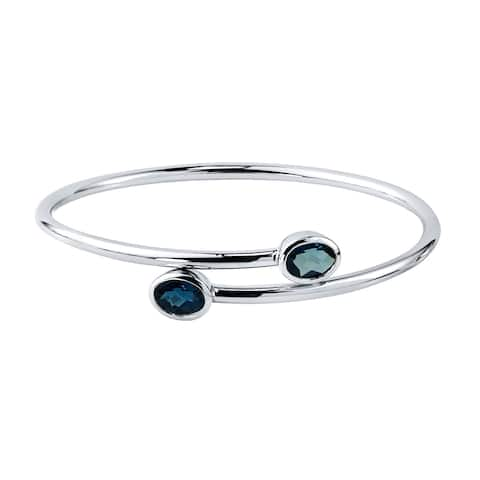 Stackable 2 3/4ct Oval London Blue Topaz Bypass Bangle Bracelet by Auriya in Gold over Silver