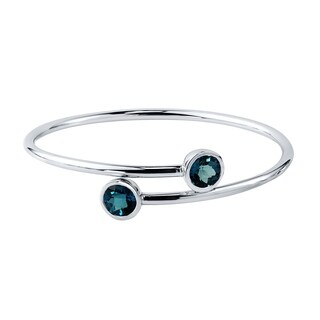 Stackable 4ct Round London-Blue Topaz Bypass Bangle Bracelet by Auriya in Gold over Silver