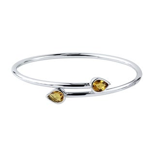 Auriya Gold over Silver 2ct Pear-cut Citrine Stackable Bypass Bangle Bracelet