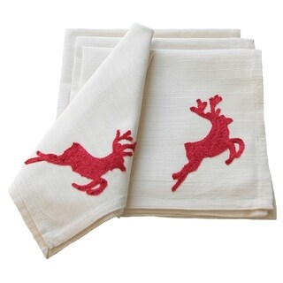 Reindeer Crewel Embroidery Holiday Reindeer Napkins, 20 by 20-Inch, Set of 4