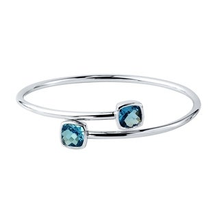 Auriya Gold over Silver 4ct Cushion-cut Swiss Blue Topaz Stackable Bypass Bangle Bracelet