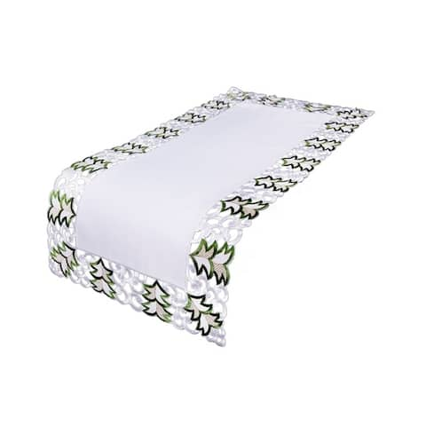 Tannenbaum Embroidered Cutwork Holiday Table Runner, 16 by 34-Inch