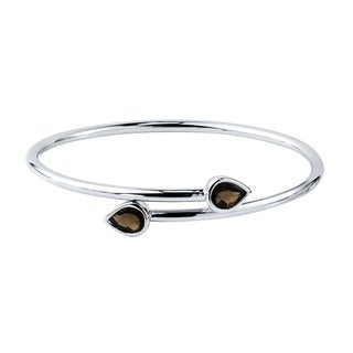Stackable 2ct Pear Shaped Smoky Quartz Bypass Bangle Bracelet by Auriya in Gold over Silver