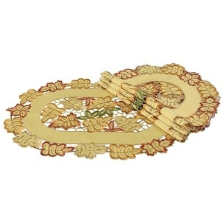 Bountiful Leaf Embroidered Cutwork Fall Placemats, 12 by 18-Inch,Set of 4