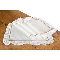 Hemstitch/Ruffle Trim White and Natural Hemstitch Placemats, 14 by 20-Inch, Set of 4