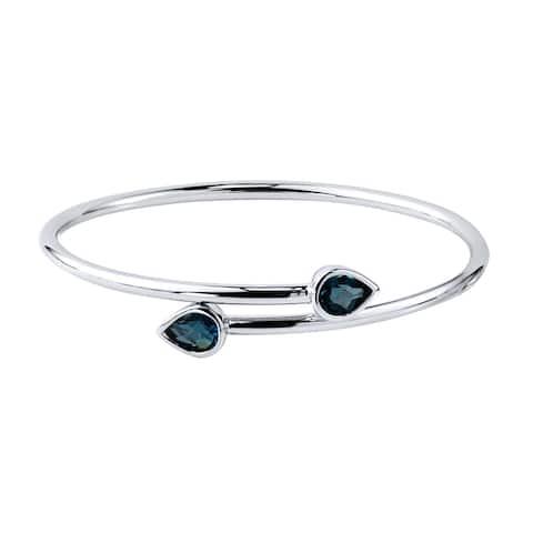 Auriya 2 1/2ct Pear-cut London Blue Topaz Bypass Bangle Bracelet Gold over Silver