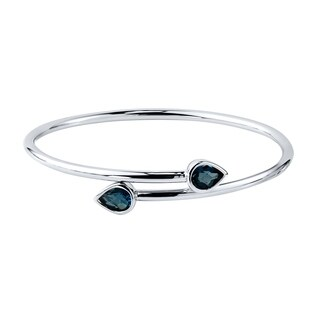 Gold over Silver 2 1/2ct Pear Shaped London Blue Topaz Stackable Bypass Bangle Bracelet by Auriya