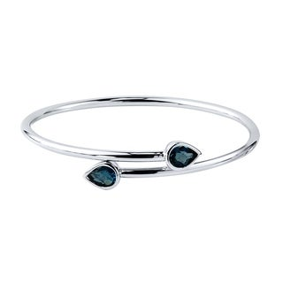 Stackable 2 1/2ct Pear Shaped London Blue Topaz Bypass Bangle Bracelet by Auriya in Gold over Silver