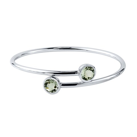 Auriya Gold over Silver 4.00ct Round Green Amethyst Stackable Bypass Bangle Bracelet