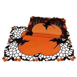Witch Embroidered Cutwork Halloween Placemats,14 by 20-Inch, Set of 4