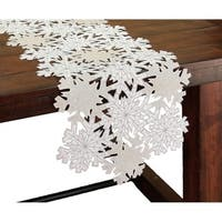 Shimmer Snowflake Embroidered Collection Cutwork Table Runner, 16 by 36-Inch