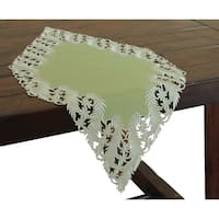 Laurel Embroidered Cutwork Table Runner, 16 by 34-Inch,  Green