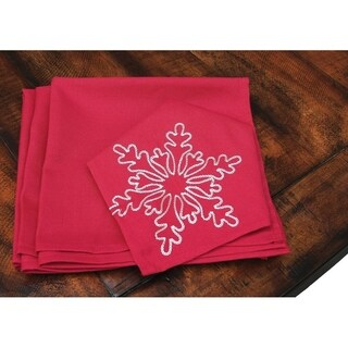 Snowy Noel Embroidered Snowflake Christmas Napkins, 20 by 20-Inch,Set of 4, Red and White