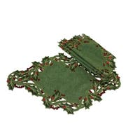 Holiday Holly Embroidered Cutwork Placemat, Green, 12 by 18-Inch, Set of 4