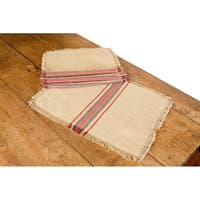 Natural Linen Stripe Placemats, 14 by 20-Inch, Set of 4