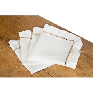 Hemstitch/Ruffle Trim White and Natural Hemstitch Napkins, 20 by 20-Inch, Set of 4