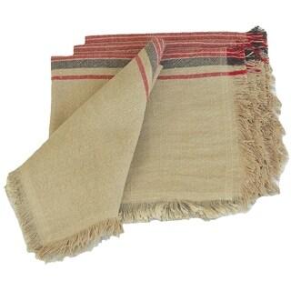 Natural Linen Stripe Napkins, 20 by 20-Inch, Set of 4