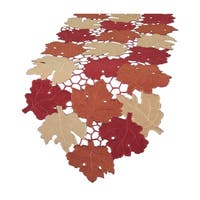 Cutwork Leaves With Poly-Suede Collection Table Runner, 13 by 70-Inch