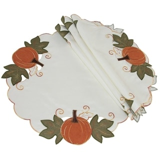 Pumpkin Patch Embroidered Cutwork Linens Collection Round Doily 16 Inch Set Of 4 Overstock 21161470