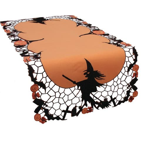 Witch Embroidered Cutwork Halloween Table Runner, 16 by 34-Inch