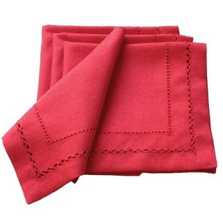 Handmade Double Hemstitch Easy Care Napkin, 20 by 20-Inch, Red, Set of 4