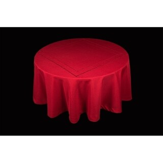 Handmade Double Hemstitch Easy Care Tablecloth, 70-Inch Round, Red