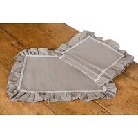 Ruffle Trim Taupe with White Lace Placemats, 14 by 20-Inch, Set of 4