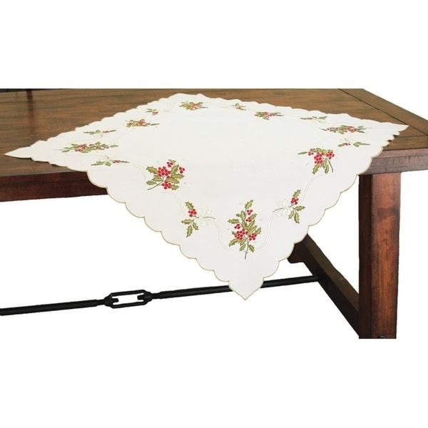Holly Berry Embroidered Collection Table Topper, 34 by 34-Inch