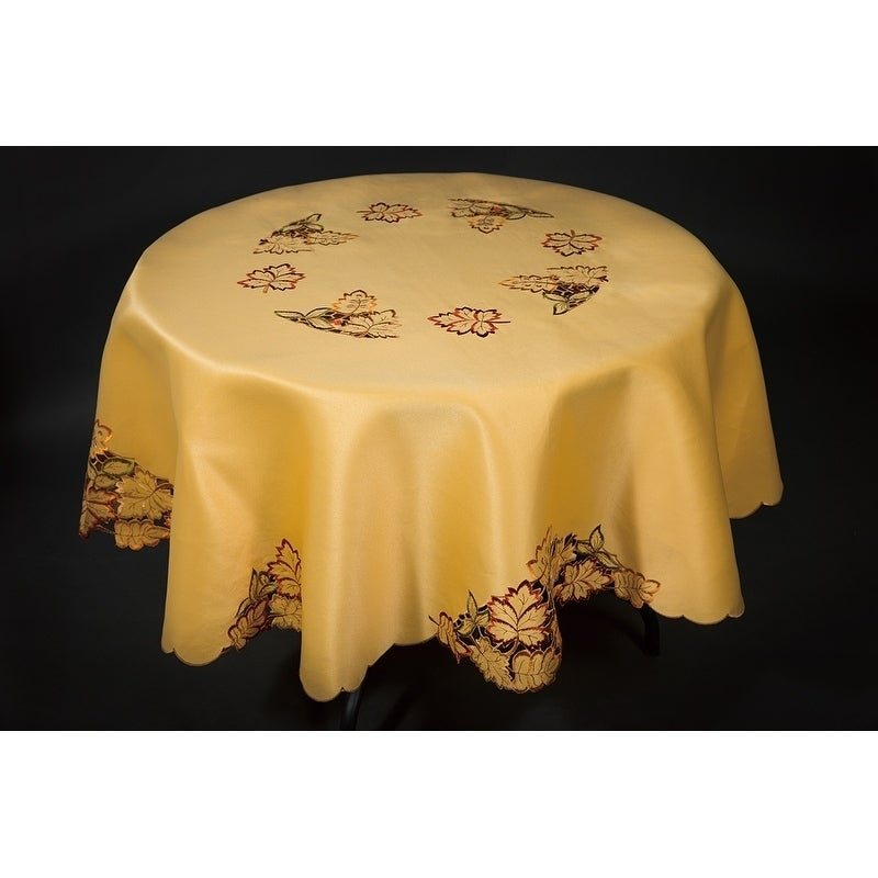 """72x72/"""" Round Embroidery Cutwork Embroidered Tablecloth Napkins Elegant Linen"""