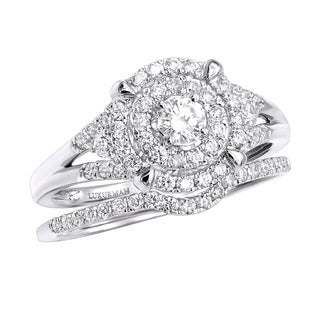Double Halo Diamond Engagement Ring Set 0.6ctw 3 Carat Look 14k Gold by Luxurman