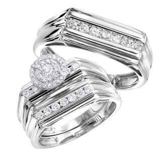 10k Gold Affordable Cluster Diamond Engagement Ring Wedding Band Trio Set 0.75ctw by Luxurman