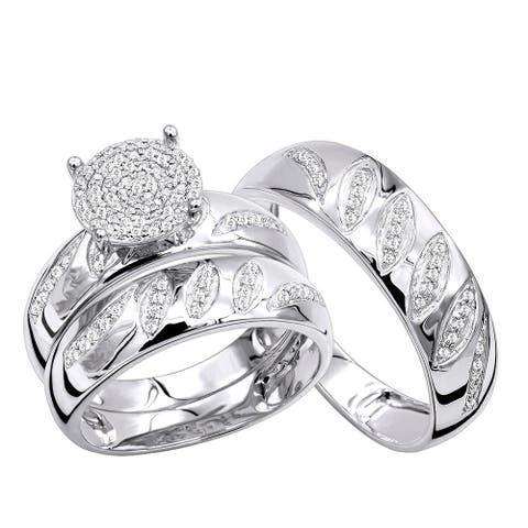 Engagement Rings and Wedding Band Set in 10K Gold His Hers Trio Set 0.4ctw by Luxurman
