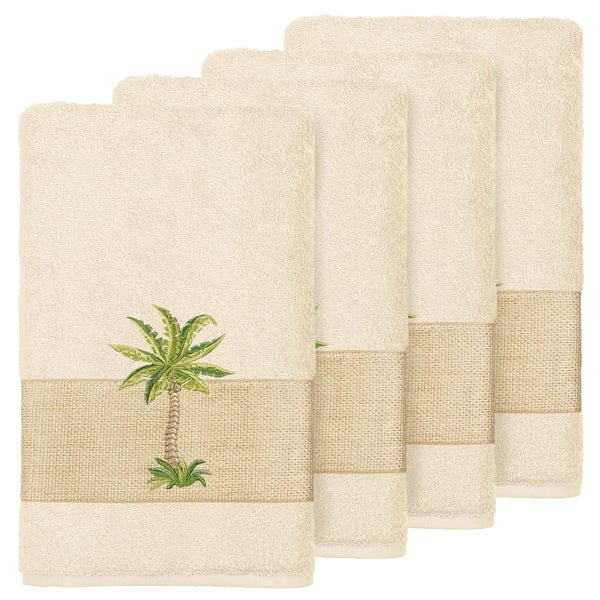 Authentic Hotel And Spa Turkish Cotton Palm Tree Embroidered Cream Hand Towels Set Of 4