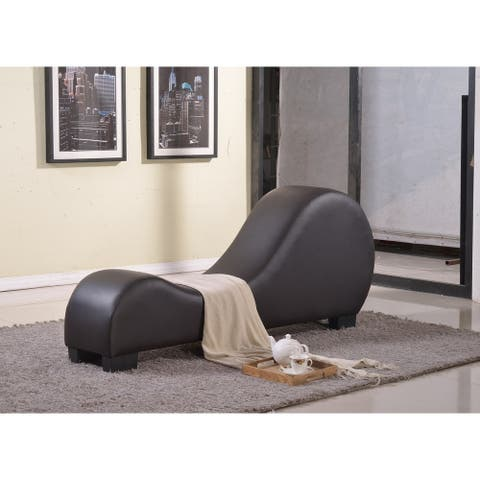 Stretch Chaise Faux Leather Curved Yoga and Lounge Chair